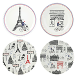 Ca C'est Paris! Assorted Canape Plates, Set of 4