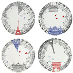 Ca C'est Paris! Assorted Dessert Plate, Set of 4