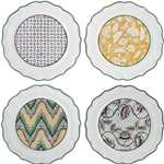 Dominote Dessert Plates, Assorted Set of 4