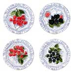 Oiseau Bleu Fruits Dessert Plate Assorted Set of 4