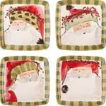 Old Saint Nick Square Salad Plate, Assorted Set of 4