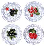 Oiseau Bleu Fruits Canape Plate Assorted Set of 4