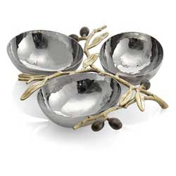 Olive Branch Gold Triple Dish
